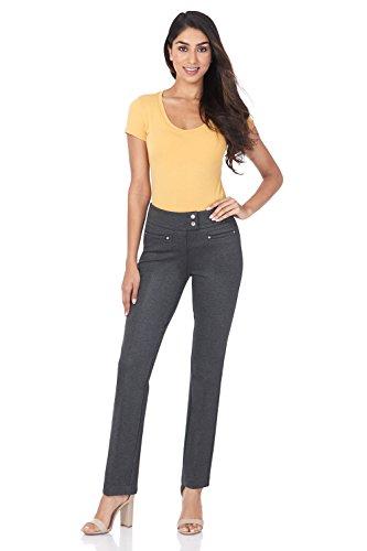 Rekucci Women's Secret Figure Pull-On Knit Straight Pant w/Tummy Control (10,DK Charcoal)