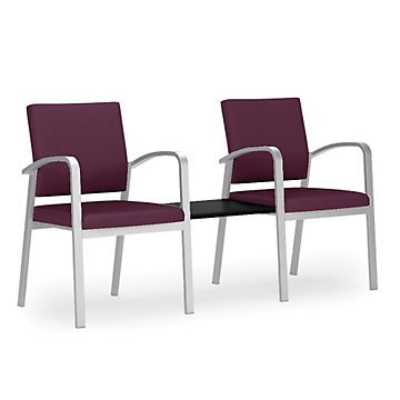 Newport Double Guest Chair w/Center Table in Solid Fabric(Wine Fabric/Natural Laminate Table Top/Silver Frame) by OFF1
