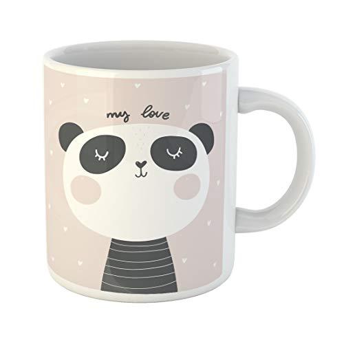 Emvency Funny Coffee Mug Cute Baby Panda Love Bear Drawing Alive Animal Asia Beautiful Black 11 Oz Ceramic Coffee Mug Tea Cup Best Gift Or -