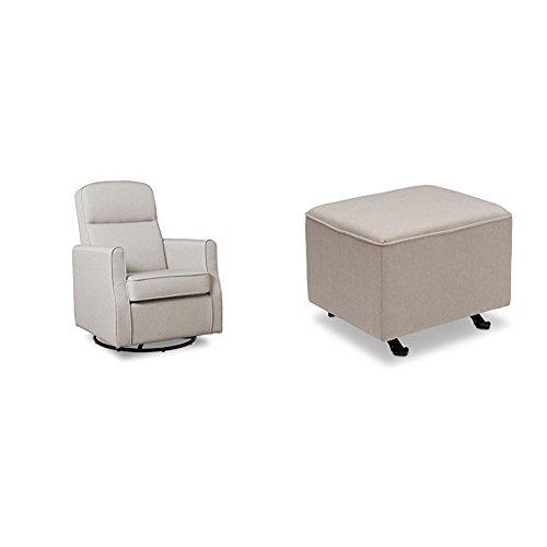 Delta Furniture Blair Slim Glider Swivel Rocker Chair with Gliding Ottoman, Taupe by Delta Furniture