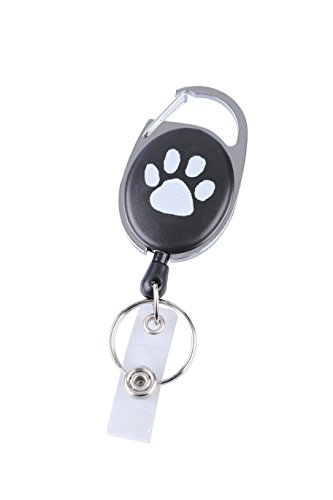 5 Pack Dog Paw Retractable ID Badge Holder Reels With Belt Clip Key Ring Black