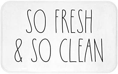 Zacathan432 Area Rug 20 x 32 Inch Door Mat, So Fresh & So Clean Bath Mat, Bathroom Decor, Funny Bathroom Decor, Funny Bath Mat, Inspired, Simple Bathroom Decor