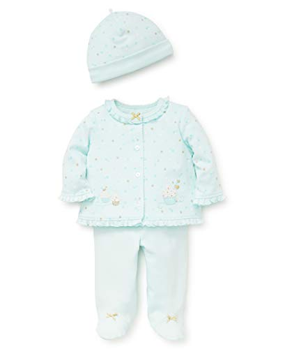 Little Me Baby Girls Cardigan Set, Shiny Cupcake Soothing sea/Gold/Multi 3 Months - Set Baby Sweater