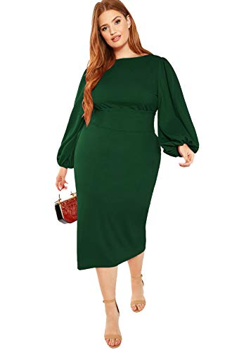 Milumia Women's Plus Size Round Neck Long Sleeve Belted Pencil Party Dress Green