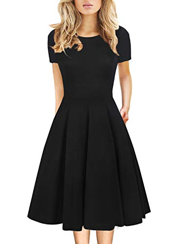 Women's Vintage Casual Round Neck Prime Wardrobe Clothing Work Party A-Line Swing Teacher Dress with Pockets Knee Length 162 (XL,...