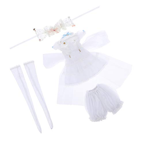 SM SunniMix 4pcs Elegant Princess Dress Suit Formal Clothes White for 1/3 BJD Supia Doll Dress Up