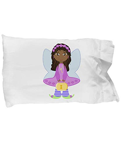 Tiny Giant Fairy Pillowcase, Girls Toddler Princess Pillow Case, Cute Little Girl with Purple Dress and Wings, Fairies Sham Bedding Bedroom Decor Gift, Super Soft Girl Daughter Niece Birthday