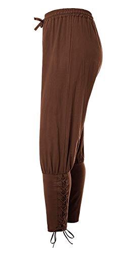 Hestenve Men's Ankle Banded Pants Medieval Viking Navigator Pirate Costume Trousers Renaissance Gothic Pants Brown -