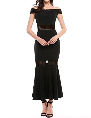 Beyove Women's Sheath Dress Off Shoulder Mermaid Bodycon Maxi Long Evening Dress (Black, XX-Large) -