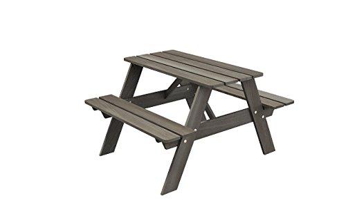 Curonian Smelis Kids Picnic Table Rectangle Pine Wood (taupegrey)