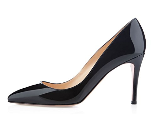 Pointed Elegant Shoes Dress Pumps High Womens Court Heel EDEFS Black Clssic Toe 5XwxZnq7TE