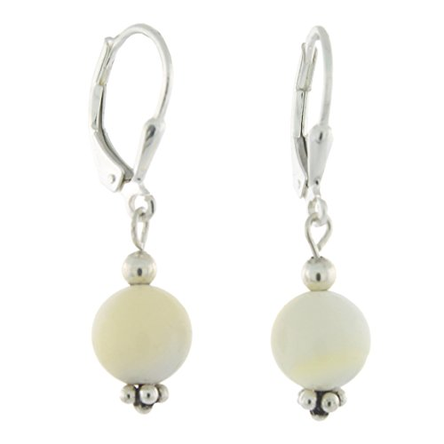 - Sterling Silver 8mm Gemstone Bead Lever Back Bottom Dot Flower Earrings, Mother of Pearl