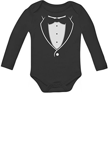 Tuxedo Black Bow Tie Baby Boy Outfit Cute Baby Long Sleeve Bodysuit 12M Black