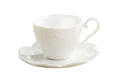 (Kslong Ceramic Teacups Coffee And Saucer Aets Cup Fine Bone China Tea Cup Butterfly Relief Tea Cup Pure White Office Drinkware Cutlery)