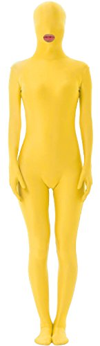 [Marvoll Unisex Mouth Hole Spandex Fullbody Costume for Kids and Adults (Kids Small, Yellow)] (Yellow Morphsuit)