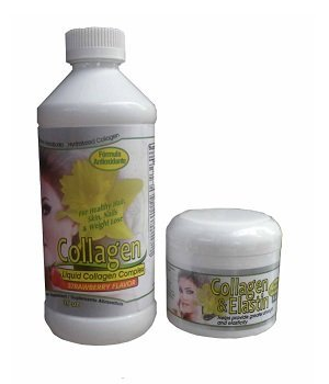 Kit Collagen Liquido 16oz (strawberry flavor) + Collagen & Elastin Cream 4oz. (