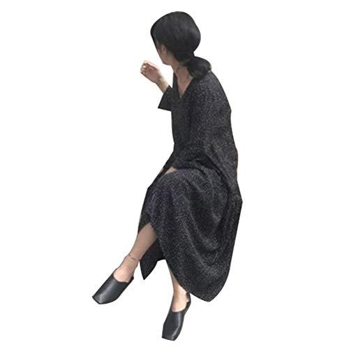 ADLISA Korea Wind Women's Polka Dot Print V Neck Long Sleeve Loose Swing Shift Dresses Party Dresses (Color : Black, Size : OneSize)
