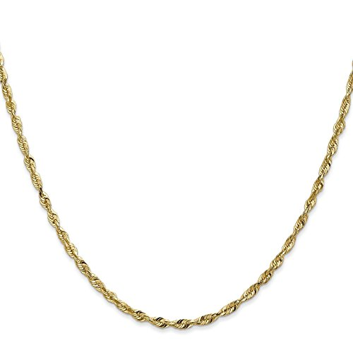 14k Yellow Gold 2.5mm Diamond-Cut Light Rope Chain Bracelet Anklet 10'' by Venture Jewelers