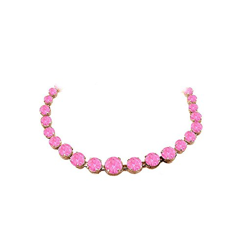 Pink Sapphire Vermeil Necklace (Pink Sapphire Graduated Necklace 14K Rose Gold)