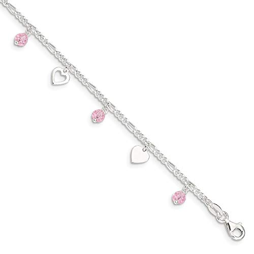 (925 Sterling Silver 9 Heart Rose Glass 1 Inch Adjustable Chain Plus Size Extender Anklet Ankle Beach Bracelet Fine Jewelry Gifts For Women For Her)