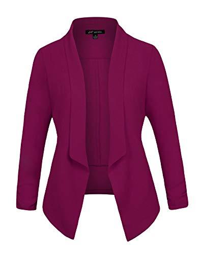 Michel Women's 3/4 Sleeve Blazer Light Weight Chiffon Casual Open Front Cardigan Jacket Work Office Blazer Magenta - Chiffon Magenta