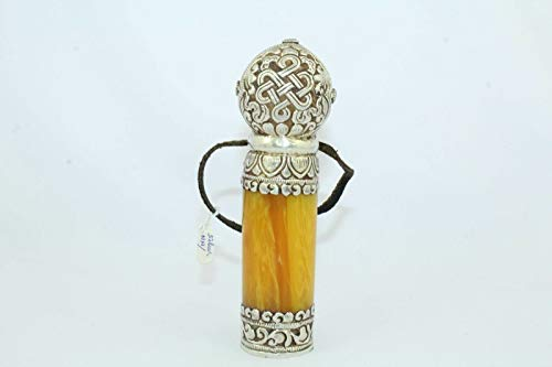 - PH Artistic Tibet Tibetan Silver Real Amber Coral Turquoise Gemstone Buddhist Stamp.