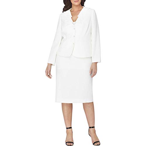 Tahari ASL Womens Plus 2PC Ruffled Skirt Suit Ivory 20W -