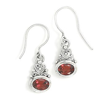 French Wire Scroll Design Earrings - Scroll Heart Design with Garnet Earrings on French Wire 925 Sterling Silver