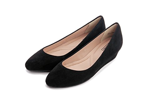 Wrapped Slip Women's PIC Comfortable Heel Leather Pumps Suede Wedge on Talia Shoes Black Mid Height PAY Suede 7FFSAxnf