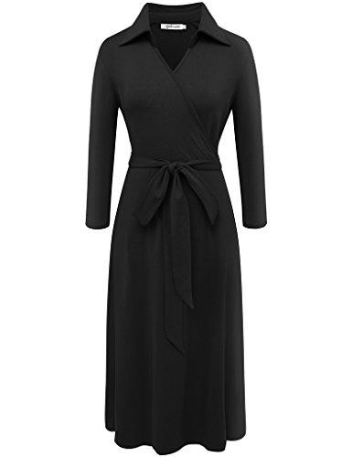3/4 sleeve black dress v neck - 9