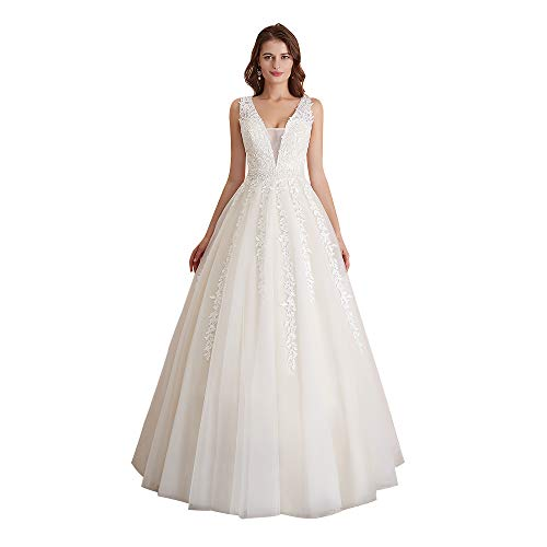 Abaowedding Women's Wedding Dress for Bride Lace Applique Evening Dress V Neck Straps Ball Gowns Ivory US 18 Plus