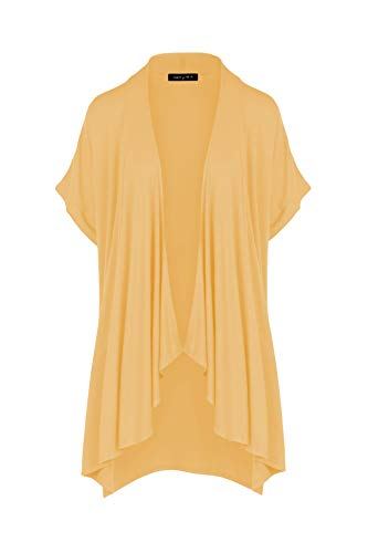 (P1269 Womens Casual Short Sleeve Draped Open Front Cardigan New Mustard M)