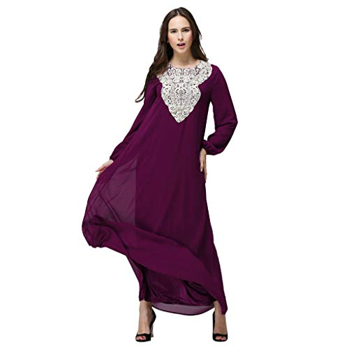 Womens Chiffon Kaftan Muslim Dress, Islamic Abaya Maxi Dresses Floral Casual Long Party Wedding Cocktail Evening Gown Purple
