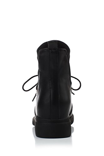 with Heels and Thread PU Platform Allhqfashion Low Women's Black Boots UvXqFw