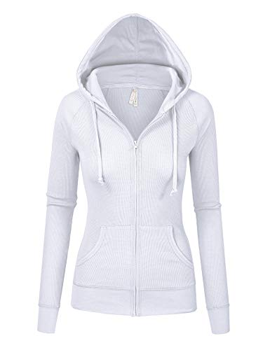 Womens White Color Thermal Zip Up Casual Hoodie Jacket (8035_White_S) ()