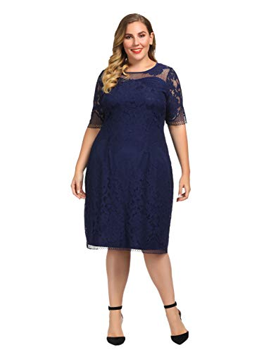 Chicwe Women's Plus Size Lined Floral Lace Dress – Knee Length Casual Party Cocktail Dress 1X Navy