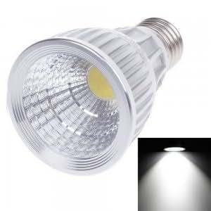 E27 9W 810LM 6500K White COB LED Light Spotlight Bulb Silver & White (85-265V)