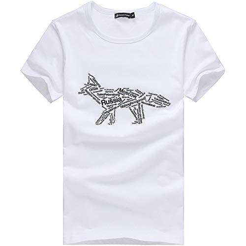 Summer Short t Shirt Men Pure Cotton Print,White ADT701140,XXXL