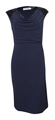 Calvin Klein Women's Sequined Shoulders Ruched Jersey Dress (12, Indigo)