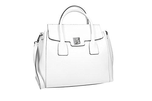 Pam Shop - Bolso al hombro de piel para mujer Blanco Weiß