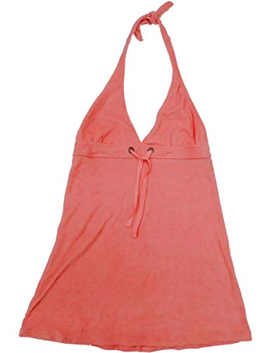 Halter Cover Terry Cloth (Womens Peach Pink Terry Cloth Swim Suit Cover Up Halter Tank Top Cover-Up)