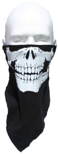 BEST QUALITY 100% COTTON black with white SKULL FACE MASK - BLACK WITH WHITE SKULL soft cotton velcro back Motorcycle 1/2 Face SKI Mask