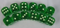 Grün Glow in the Dark Dots Standard Dice D6 16mm 12 Dice by Koplow Games