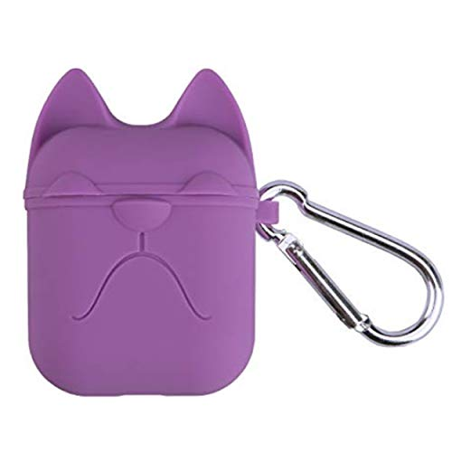 Airpods case | Silicon Case | Charging Ports | Hanging Key Chain | Bulldog Style | Compact | Multiple Colors | Non-Toxic Material | Shock Resistant | Waterproof | Portable (Purple)