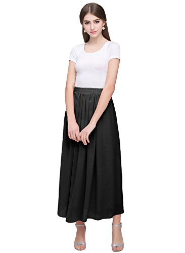 Kileyi Women's Long A Line High Elastic Waist Swing Chiffon Pleated Midi Skirt Black M