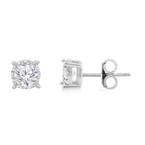 Genuine Diamond Miracle Plate Earring (1/2ctw 10K White-Gold)
