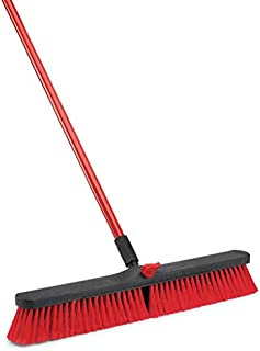 """product image for Libman Commercial 805 Multi-Surface Push Broom, 64"""" Length, 24"""" Width, Black/Red (Pack of 4)"""