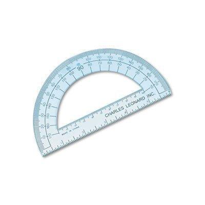 Charles Leonard 77106 Open Center Protractor, Plastic, 6'' Ruler Edge, Clear, Dozen