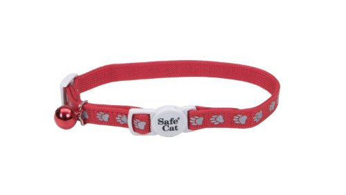 UPC 076484481055, Reflective Safe Cat collar - Red w/ Paw Prints