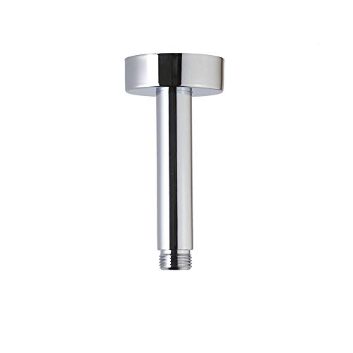 Weirun Bathroom 1/2 NPT All Brass 4-Inch Straight Shower Arm with Flange Ceiling Mount,Chrome ()